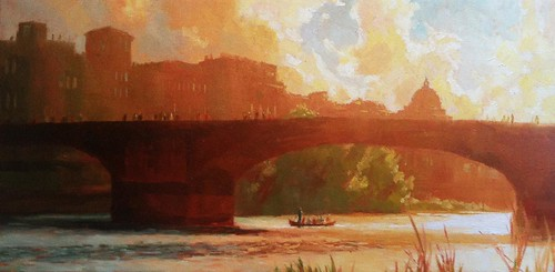 Florence, Italy – The Arno River at Sunset 12x24