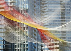 Sky Painted With Unnumbered Sparks (Ruth and Dave) Tags: red sculpture orange building art net yellow vancouver rainbow colours waterfront skyscrapers floating canadaplace vancouverconventioncentre ted2014 skiespaintedwithunnumberedsparks janetechelmann