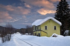 abandoned train station, searchmont, ontario (twurdemann) Tags: railroad winter sunset snow ontario canada abandoned clouds landscape evening spring decay tracks railway trainstation toad collapse derelict boarded canadiannational northernontario searchmont woodframe algomacentralrailway graduatednd colorefex tonalcontrast brilliancewarmth highway532 fujixe1 leeseven5filter