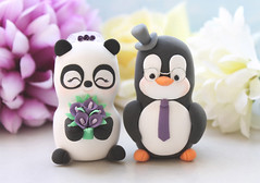 Panda and Penguin cake toppers - eggplant calla lilies eyeglasses (PassionArte) Tags: wedding pet animal cake penguin groom bride panda handmade military jacket clay bouquet etsy toppers personalized