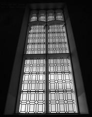 People are like stained-glass windows (Bhamgal) Tags: light window scotland blackwhite standrews standrewsuniversity diamondpattern msh0414 msh04144