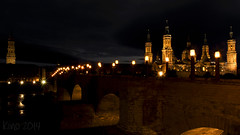 anochece (kinojam) Tags: bridge pilar night canon puente lights luces noche kino zaragoza panoramica nocturna farolas elpilar puentedepiedra basilicadelpilar canon60d kinojam