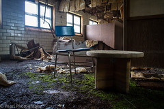 Kid's Table (Stophalope) Tags: abandoned nature moss chair decay destruction urbanexploration ue abandonedbuildings urbex abandonedplaces abandonedschool trespassforart
