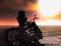 """""""Into the Sunset""""_035aw (Addy Summerwind, Photographer (Taking Clients)) Tags: reflection water photoshop portraits outdoors outdoor motorcycles sl secondlife bikers postprocessing summerwindstudios obesessionexposedstudios obsessionexposedgardengallery"""