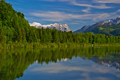 View to the Tennengebirge range from along the Salzach (echumachenco) Tags: blue trees sky mountain snow reflection salzburg green water clouds river austria sterreich riverside may banks puch mountainrange salzach hallein tennengebirge drrnberg tennengau nikond3100