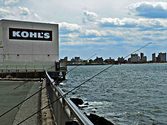 Gone from Fishin' (Robert S. Photography) Tags: nyc sea color water sign brooklyn clouds spring fishing nikon waves promenade coolpix rods kohls 2016 iso80 caesarsbay l340