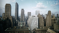 Aerial view of St. Patrick's Cathedral and Rockefeller Center / New York c.1957 (cobravictor) Tags: old nyc newyorkcity panorama ny stpatrickscathedral rockefellercenter aerialview retro 1957 rcabuilding midtownmanhattan