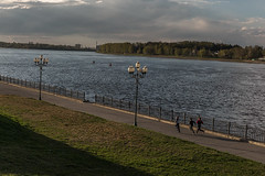 Rybinsk, Russia (misus1504 (Elena)) Tags: morning travel light sky mist color reflection water weather canon river dark landscape spring day russia outdoor mark may land orthodox volga goldenring