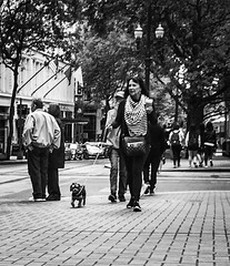 Coffee And A Friend (TMimages PDX) Tags: road street city people urban blackandwhite dog pet monochrome animal buildings portland geotagged photography photo image streetphotography streetscene sidewalk photograph pedestrians pacificnorthwest avenue vignette fineartphotography iphoneography