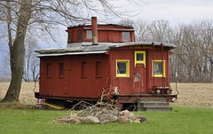 Hartstown, Pennsylvania (2 of 4) (Bob McGilvray Jr.) Tags: wood railroad red train wooden spring pennsylvania farm tracks caboose pa cupola treeline hartstown theloosecaboose