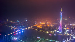 You Can Always Find Me Here (Tim van Zundert) Tags: guangzhou china city bridge light reflection tower water night river boats four lights evening tv rainbow long exposure seasons view sony voigtlander pollution guangdong pearl height canton 21mm tianhe ultron a7r