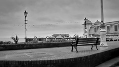 Penarth Pier (The Vegan Taff Photography) Tags: uk sea blackandwhite building southwales wales architecture bench outside outdoors pier seaside view cardiff victorian lamppost promenade penarth blackandwhitephotography penarthpier