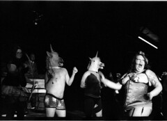 NikonF2IlfordDelta450 (Johnny Martyr) Tags: burlesque honeybee honeybeeburlesque frederickmd frederickmaryland frederick maryland unicorn bondage dominatrix laughing dancing dance strip entertain body tassels bw blackandwhite stage show perform naughty vaudeville