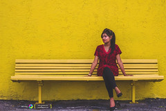 Shahrin (rmehdee) Tags: life red portrait people woman girl face robin lines fashion yellow lady bench day dof florida style american wife bengali ladyinred bangladeshi shahrin rmehdee