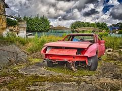 Porsche (enneafive) Tags: porsche car wreck red sportscar hdr olympus omd em5 abandoned dramatic