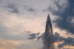 DSCF1803 (kuzdra) Tags: city sunset sky france fountain ciel fontaine  jetdeau angers   couchedesoleil