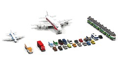 MINI City collection (RedRoofArt) Tags: lego moc vehicles city taxi limo truck mini train plane airplane police camper van car hummer micro