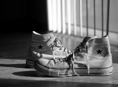 Morning Light (On Chucks) (photo_secessionist) Tags: light bw film contrast 35mm blackwhite shoes pentax kodak bn d76 delta100 ilford chucks mesuper selfdeveloped lightstudy explored pentaxaf250mmlens