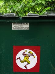 That Angry Clown (prima seadiva) Tags: dumpster graffiti scary sticker clown trump capitolhill