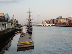 Down the Liffey (mikecogh) Tags: dublin design tallship pontoon riverliffey samuelbeckettbridge