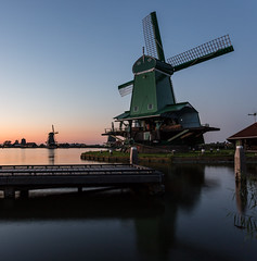 Zaanse Schans (McQuaide Photography) Tags: longexposure light holland reflection water netherlands windmill dutch skyline architecture photoshop canon river square outside eos evening licht twilight lowlight europe outdoor dusk availablelight traditional tripod nederland wideangle 11 bluehour fullframe dslr avond 1740mm squarecrop touristattraction sawmill molen authentic zaanseschans manfrotto zaandam lightroom 6d zaan rivier lseries zaandijk zaanstad groothoek paltrokmolen zaagmolen canon6d degekroondepoelenburg mcquaidephotography