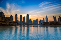 View from Dubai Mall fountain (Jamsheed Photography) Tags: fountain water sky building landscape dubai skyline outdoor waterfront sunset architecture city serene sea