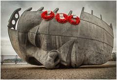 Merchant Seafarers' War Memorial (tina777) Tags: sculpture texture metal wales bay memorial war cardiff clarity quay wreath poppy mermaid merchant topaz adjust seafarers