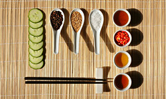 (around the world in 80 recipes - korea) (bloodybee) Tags: 365project  oimuchim korea asia cuisine food eat cook ingredients salad cucumber vegetables salt pepper sesame oil vinegar honey chilli chillipeppers spicy chopsticks bamboo stilllife green brown white red shadow