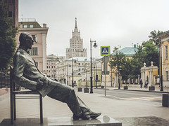 The contemplation of emptiness (Andrey  B. Barhatov) Tags: street city morning urban sculpture monument canon vintage outdoors cityscape oldstyle russia outdoor moscow retro urbanexploration msk monuments ru citywalk  cani moskva  citywalks retrostyle   russianfederation nocontrast stylization  moscowwalks canonef28105 retromood canoneos1000d canonef2810513545usm barhatovcom