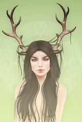 druid (Cassandra Middles) Tags: moon spell essences maitreya ikon veechi eyeliner background druid deer doe fawn green earthy ionic vale koer hair collab past uber chapter4