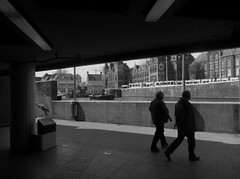 Coming from underground (Quetzalcoatl002) Tags: bw amsterdam underground metro silhouettes cs exit citycenter centralstation