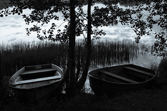 Summer eve (Antti Tassberg) Tags: sunset blackandwhite bw sun lake beach monochrome espoo lens landscape 50mm prime boat sundown shore kes vene ranta jrvi auringonlasku aurinko pitkjrvi laaksolahti
