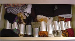 Scarves organiser (irecyclart) Tags: hat scarf glove cans aluminium