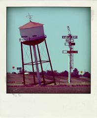leaning water tower (Leo Reynolds) Tags: xleol30x poladroid polaroid faux fauxpolaroid fake fakepolaroid phoney phoneypolaroid route66 xxx2016xxx