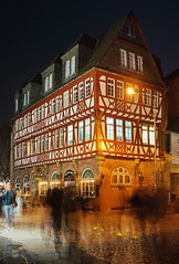 Fachwerkhaus (stephan.hickisch) Tags: old city light people urban building night germany restaurant evening wooden walk frankfurt main financial metropole fachwerk hhauswertheym