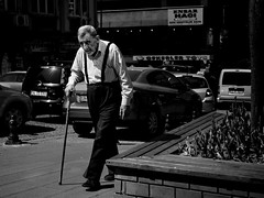 The people of Istanbul - Cane (Jochen-B) Tags: street light people bw white black monochrome cane shadows candid oldman olympus istanbul walkingstick summilux omd 25mm em5 2514