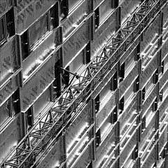 Construction (PeteZab) Tags: nottingham uk england blackandwhite bw abstract texture monochrome mono construction pattern steel build repeating 2013 canoneos50d petezab peterzabulis sigma1770f284dcmacroos monomayhem2013