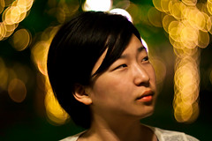 Night shot (Arutemu) Tags: portrait woman girl face night asian bokeh