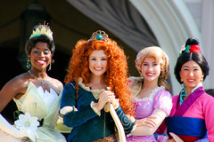 Tiana, Merida, Rapunzel, Mulan (abelle2) Tags: princess disney disneyworld merida pixar brave tiana wdw waltdisneyworld rapunzel magickingdom coronation tangled mulan disneyprincess princessandthefrog princesstiana princessrapunzel princessmerida meridacoronation