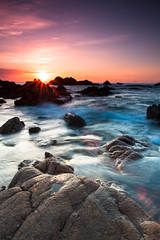 Cobo Bay, Guernsey (Explored) (Martin.Robertson) Tags: light sea summer beach landscape rocks guernsey channelislands lightroom cokin cobobay milkywater canoneos500d