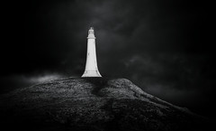 Hoad Monument (rocket_ross) Tags: uk england bw white lake black west colour tower monument misty contrast canon john dark landscape town high noir gloomy cloudy district no north full cumbria frame 5d agus dslr ban sir 70300mm et ulverston blanc ef barrow blackdiamond mkii dubh f456 hoad