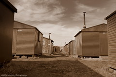 Between The Huts (Wipeout Dave) Tags: building sepia coast shed huts djs teesside redcar northeastengland southgare fishermanshuts wipeoutdave canoneos1100d djs2013 davidsnowdonphotography