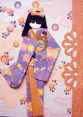 "ATC1215 - Got myself a ""Sweet Lover"" (tengds) Tags: flowers orange atc clouds perfume purple geisha kimono obi origamipaper papercraft lightblue japanesepaper washi ningyo handmadecard chiyogami blueviolet yuzenwashi japanesepaperdoll japanesedesignprint origamidoll nailartsticker tengds"