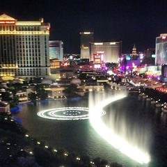 Watching the Bellagio water fountain show from the #supercaz vip party at the Cosmopolitan! #lasvegas, #interbike