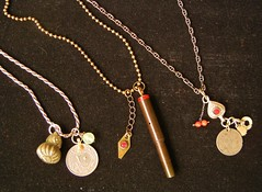 Little Green Pagoda necklaces; bakelite pen, old chinese silver, ottoman coins