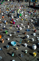 Erfurt Germany,  a plea against domenstic violence, each item representing a violent act (adamnsinger) Tags: leica germany glasses erfurt 28mm pots domestic violence 28 posts m9