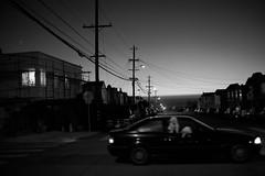 Photobomb Level: Dog God (Misha Sokolnikov) Tags: sf sanfrancisco california ca street city sunset blackandwhite usa dog dogs car northerncalifornia night america canon photography photo noiretblanc voigtlander 40mm sanfranciscoca thesunsetdistrict blackwhitephotos blanconoir