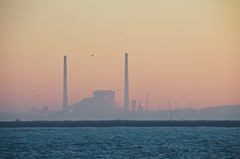 Stacks at Twilight (imageClear) Tags: autumn lake water birds electric wisconsin sailboat landscape photography evening harbor twilight haze nikon energy flickr power image lakemichigan electricity powerplant hazy sheboygan photostream lakefront 18200mm d7000 edgewaterpowerplant imageclear