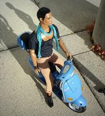 Darius with Vespa (Deejay Bafaroy) Tags: blue black toys outdoors doll dolls vespa power barbie sunny scooter reid roller blau staying sonnig fr mattel homme draussen motorroller integrity myscene darius fashionroyalty
