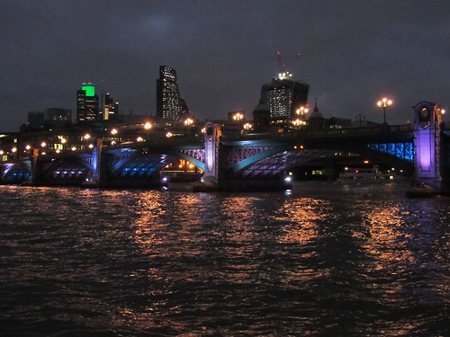 London, Southwark Bridge, River Thames and City of London